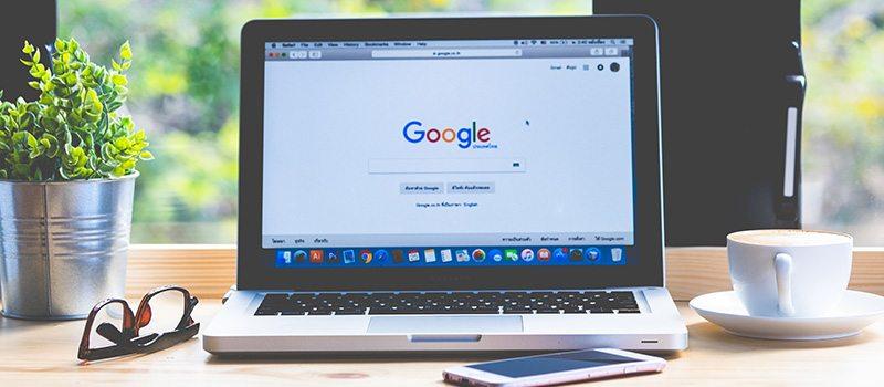 Google Home Screen on Laptop